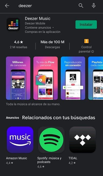 Deezer Premium en Google Play
